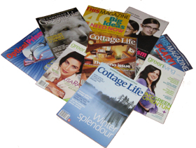 Photo of Canadian magazines including Cottage Life, Green Living, Optical Prism